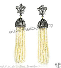 Pearl Artdeco Estate Tassel Earring Jewelry 4.75Cts Pave Rose Cut Diamond Silver