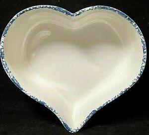 Heart Shaped Blue Drip Sponge Ceramic Cake Baking Dish Pan