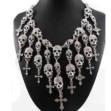 Vintage Silver/Black Skeleton Skull Head Pendant Crystal Bib Necklace Jewelry US