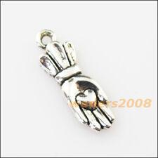 16 New Heart Crown Hand Palm Tibetan Silver Tone Charms Pendants 7x21mm