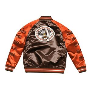Mitchell & Ness Cleveland Browns Tough Satin 1950 CHAMPS Full-Snap Orange Jacket