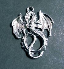 Large Dragon Pendant Shiny Silver Mythical Pendants Charms Fairy Tale