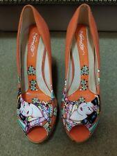 Orange Ed Hardy Toe Wedge Heels for women size 9