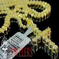 Genuine Yellow Canary Diamond Mini Cross Pendant Charm Chain Yellow Gold Finish