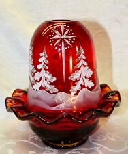 "Fenton, Fairy Light, Ruby Glass, ""Star Bright"", Hand Decorated, Christmas."