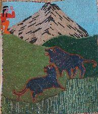 Beautiful 1930's Native American Yakama Walla Walla Beaded Bag Hunter & Wolves