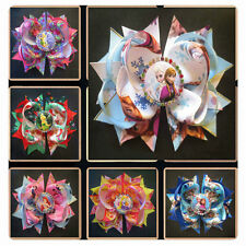 """10 BLESSING Happy Girl 5.5"""" B- Princess Hair Bow Clip Cinderella Frozen Hairbow"""