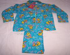 Looney Tunes Tweety Girls Blue Hearts Printed Flannel Pyjama Set Size 5 New