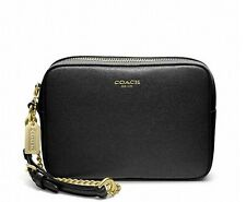 NWT Coach Saffiano Leather Fight Wristlet Wallet 49790 Brass/Black Perfect4Gift