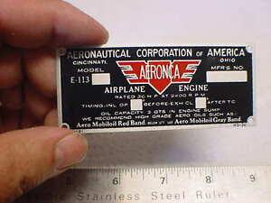 AERONCA color Data Plate Acid Etched Aluminum 4 pads