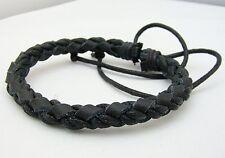 Mens Black Leather Bracelet 7mm adjustable size