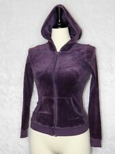 Juicy Couture Velour Hoodie Sweater Eggplant 14 Small Flaw Pull Tag