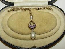 ELEGANT, EDWARDIAN, 9 CT GOLD PENDANT NECKLACE WITH AMETHYST, PEARL AND DIAMONDS