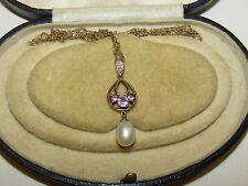 Elegante, eduardiano, CT 9 Collar Colgante de Oro con Amatista, Perla Y Diamantes