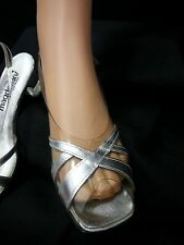 Vgt Magdesians Women Silver Clear Shoe Sandal Sling Back Square Heel Formal 8.5N