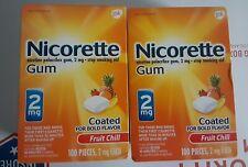 Nicorette Gum Fruit Chill 2mg 100X 2 = 200 Total EXP date  2023