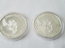 1928 1998 1 oz .999 SILVER COIN MICKEY MOUSE DISNEY HAPPY BIRTHDAY  - LOT 2 coin
