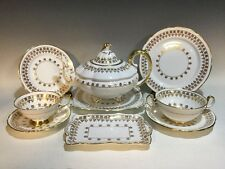 Vint.93 pcs Tea/Luncheon Set Gold Floral w/Beaded Accents Royal Stafford England