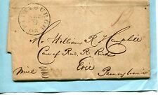 1834 FOLDED COVER /LETTER P/M PITTSBURG PA REV R C L LIND TO W R HEMPHILL ERIE