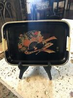 JAPANESE ANTIQUE LACQUER WARE / DISPLAY SERVING TRAY / BLACK W/ JAPANESE FAN