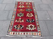 Traditional Tribal Hand Made Persian Gabbeh Oriental Red Wool Rug 198x110cm