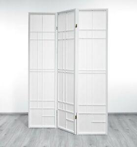Paravent Trend Style 3 White Rahmen weiß, Stellwand im modernen Design, Paravent