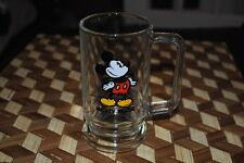 Mickey Mouse Vintage Glass Beer Mug Footed Disney World RARE Disneyland