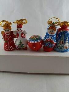 Russian Wooden Christmas ornaments hand Painted made in Russia