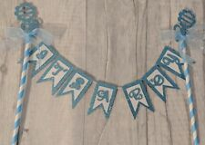 It's a boy blue bunting cake topper glitter new baby shower naming ceremony