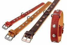 Karlie 25231 Buffalo LEATHER Oriental DOG collar 30 mm X 45 cm dark RED ON TAN