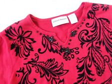 RED SWEATER TOP WITH BLACK FLORAL DESIGNS & BEADS BY ALFRED DUNNER SIZE PM ~ NEW