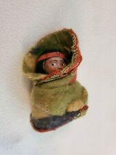 "Vintage 4"" Skookum Indian Girl Squaw Doll Wrapped in Colorful Blanket"