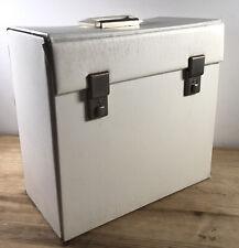 """Vintage White Faux Leather Record Vinyl Carry Case 12"""" LP Storage Box"""