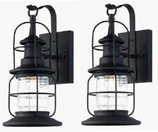 2 Pack Black Outdoor Wall Mount Jelly Jar Lantern Lights! Exterior Glass Lot
