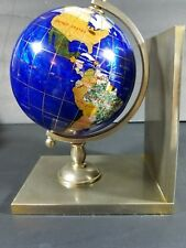 Mother of pearl inlay Lapis Spinning Desk Globe MOP Base Brass