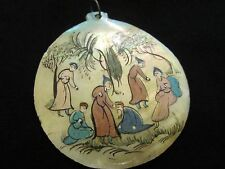 Vintage Hand Painted Persian Mother Of Pearl Pendant