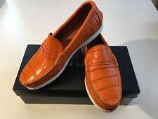 NIB RALPH LAUREN Collection Orange Crocodile TAMWORTH Boat Loafers Shoes 9.5D