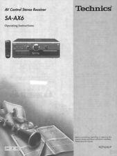 Technics SA-AX6 Receiver Owners Instruction Manual Reprint