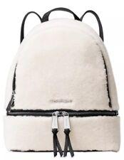 Michael Kors Rhea Backpack Zip Medium Signature Black Shearling Fur Trim