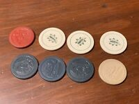 Lot of Vintage Clay Poker Chips Cat, Dog, Money and Left Design