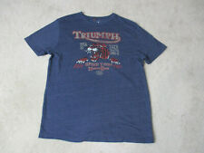 Lucky Brand Triumph Shirt Adult Large Blue Red Speed Town Motorcycle Biker Mens