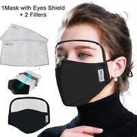 Cotton Windproof Outdoor Face Protective Face Mask with Eyes Shield + 2 Filters
