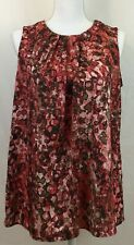 Anne Klein Brown Rose Pink Scoop Neck Back Button Sleeveless Blouse Shirt Large