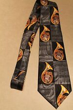 Lots Of French Horn On A Brand New 100% Polyester Black Neck Tie ! Free Shipping