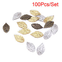 100Pcs/Set Filigree Hollow Leaves Charm Pendants DIY Craft Jewelry Making TEUS
