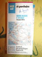 carte IGN Bleue 1431 est st porchaire 1987