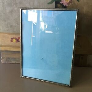 Vintage Ornate Chrome Metal Mantel Picture Frame-either orientation #5383