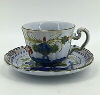 Vintage Faenza AMM Blue Carnation Italy Faience Coffee Tea Cup & Saucer Set
