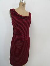 ANN TAYLOR LOFT Red/Black Striped Ruched Casual/Work Dress-Size M