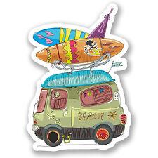 2 x Surf Beach Bus Vinyl Sticker iPad Laptop Car Camper Van Surfer Gift #4462